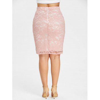 Plus Size Color Block Lace Fitted Skirt - COLORMIX 2XL