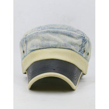 Unique PU Leather Brim Flat Top Hat - LIGHT BLUE