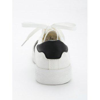 Casual Color Blocking Skate Shoes - BLACK WHITE 37