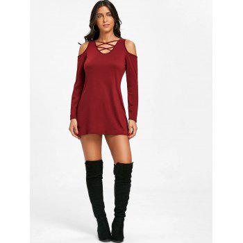 Cold Shoulder Criss Cross Tunic Top - WINE RED L
