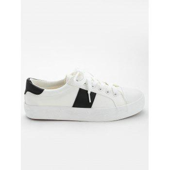 Casual Color Blocking Skate Shoes - BLACK WHITE 35