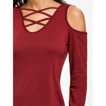 Cold Shoulder Criss Cross Tunic Top - WINE RED XL