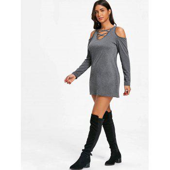 Cold Shoulder Criss Cross Tunic Top - DARK GRAY S