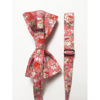 Blossoming Floral Bowtie and Handkerchief Set - PINK