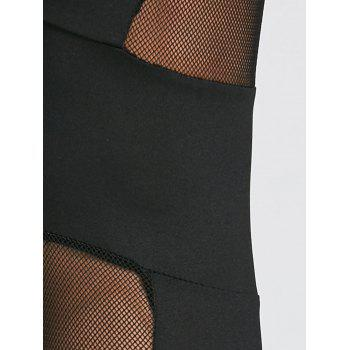 Mesh Insert Ninth Workout Leggings - BLACK S