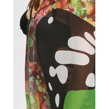 Plus Size Sheer Butterfly Print Beach Cover Up - GREEN ONE SIZE