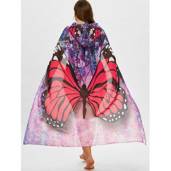 Plus Size Sheer Butterfly Print Beach Cover Up - RED ONE SIZE