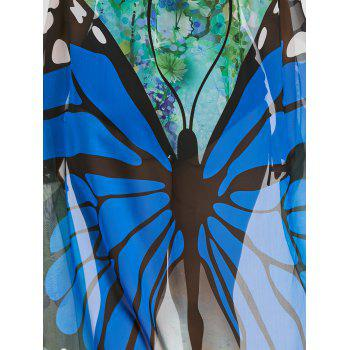 Plus Size Sheer Butterfly Print Beach Cover Up - BLUE ONE SIZE