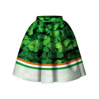 Striped Leaf Print Skirt - GREEN S