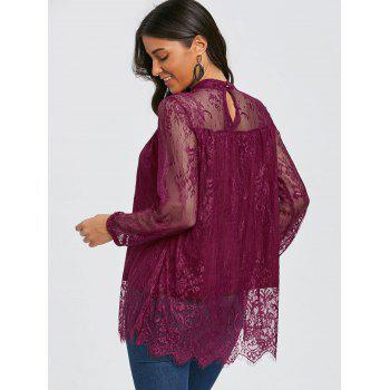 Mock Neck See Thru Lace Blouse - PURPLISH RED L