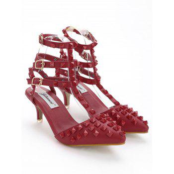 Studded Ankle Strap Stiletto Heel Sandals - RED 39