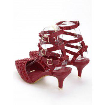 Studded Ankle Strap Stiletto Heel Sandals - RED 35