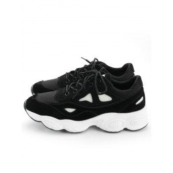 Faux Suede Two Tone Sneakers - BLACK 36