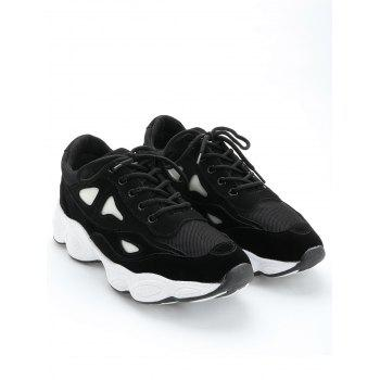 Faux Suede Two Tone Sneakers - BLACK 35