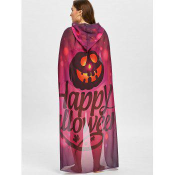 Plus Size Halloween Pumpkin Print Sheer Cover Up - PURPLE ONE SIZE