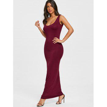 Floor Length Tank Dress - WINE RED XL