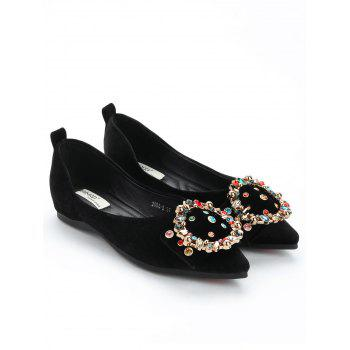 Colorized Buckled Pointed Toe Flats - BLACK 38