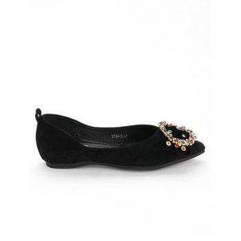 Colorized Buckled Pointed Toe Flats - BLACK 37