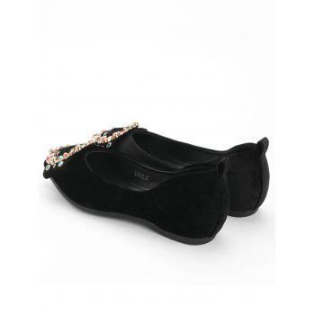 Colorized Buckled Pointed Toe Flats - BLACK 35
