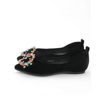 Colorized Buckled Pointed Toe Flats - BLACK 36