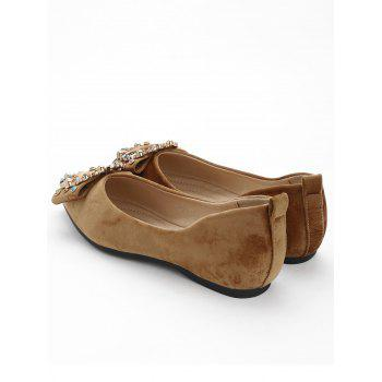 Colorized Buckled Pointed Toe Flats - KHAKI 37