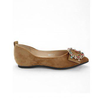Colorized Buckled Pointed Toe Flats - KHAKI 35