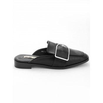 Buckled PU Leather Mules Shoes - BLACK 37
