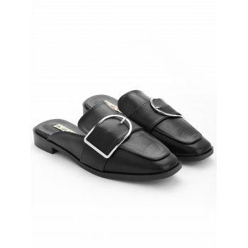 Buckled PU Leather Mules Shoes - BLACK 39