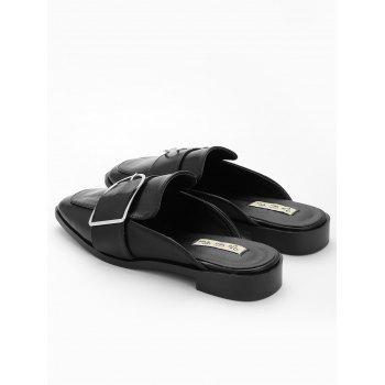 Buckled PU Leather Mules Shoes - BLACK 35