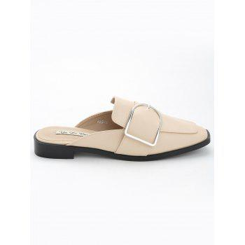 Buckled PU Leather Mules Shoes - APRICOT 39