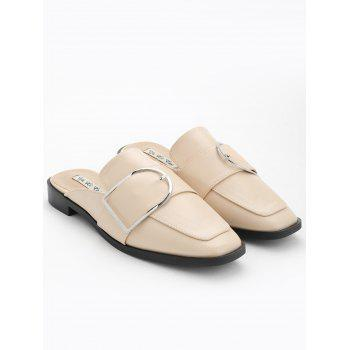 Buckled PU Leather Mules Shoes - APRICOT 36