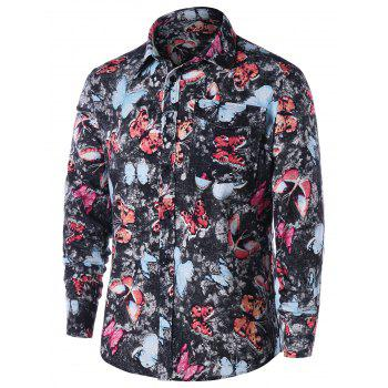 One Pocket Butterfly Print Shirt - COLORMIX M