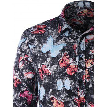 One Pocket Butterfly Print Shirt - COLORMIX 2XL