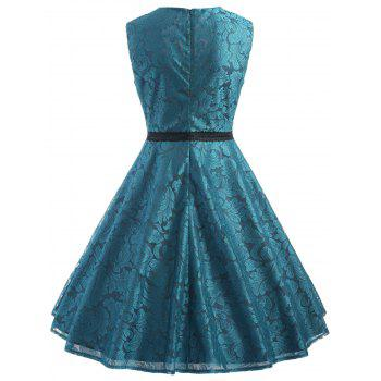 Sleeveless Leaf Lace Dress - PEACOCK BLUE XL