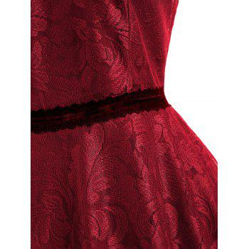 Sleeveless Leaf Lace Dress - RED S