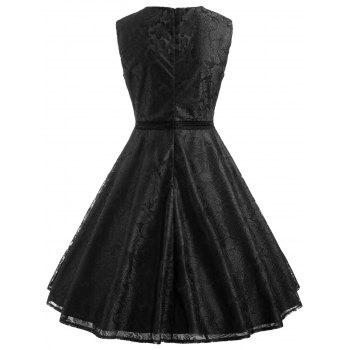 Sleeveless Leaf Lace Dress - BLACK 2XL