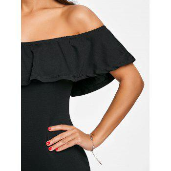 Off The Shoulder Ruffle Bodycon Dress - BLACK M