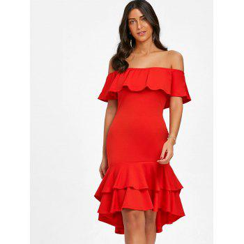 Off The Shoulder Ruffle Bodycon Dress - RED L