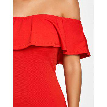 Off The Shoulder Ruffle Robe moulante - Rouge M