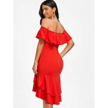 Off The Shoulder Ruffle Robe moulante - Rouge S