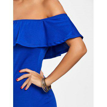 Off The Shoulder Ruffle Bodycon Dress - BLUE L