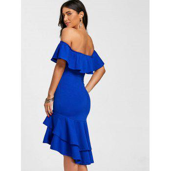 Off The Shoulder Ruffle Bodycon Dress - BLUE S
