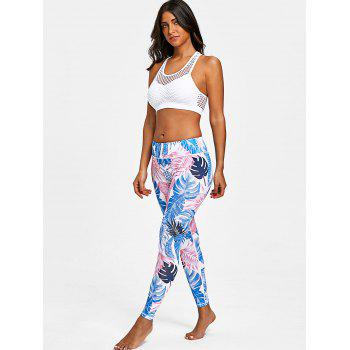 Palm Leaf Print Training Leggings - COLORMIX M