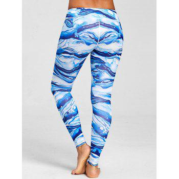 Ocean Waves Printed Elastic Waisted Workout Leggings - COLORMIX M