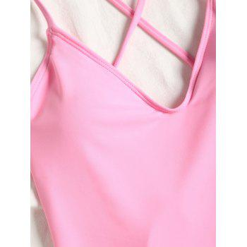 Backless Cross Back High Leg Swimsuit - LIGHT PINK M