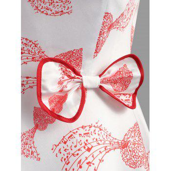 Heart Print Bowknot Embellished Dress - PINK 2XL