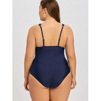 Rembourré Plus Size Cami One Piece Beachwear - Bleu 4XL