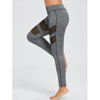 Mesh Insert Heather Sports Leggings - GRAY L