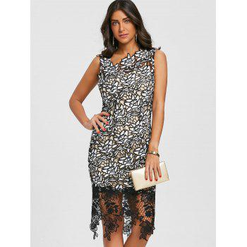 Lace Skew Neck Party Dress - BLACK L