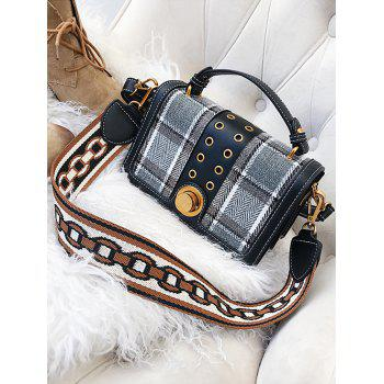 Plaid Multipurpose Rivet Hole Shoulder Bag - GRAY